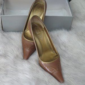 BROWNS COUTURE NUTMEG WITH GOLD EDGE SHOES